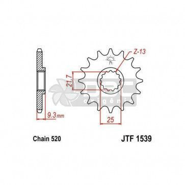 Pinhão para Kawasaki NINJA 300R  JTF1539.14