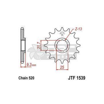 Pinhão para Kawasaki NINJA 250R  JTF1539.14