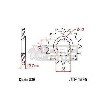 Pinhão para Yamaha FZ6 FAZER 600S/N  JTF1595.16