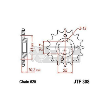Pinhão para Yamaha XT660 R 04-15 JTF308.15