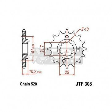 Pinhão para Yamaha MT-03 06-12 JTF308.15