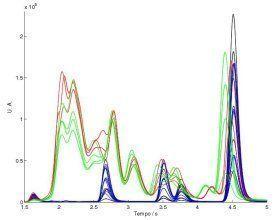 Gráfico com resultados de uma cromatografia